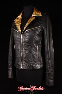 Ladies ESCAPE Black & Gold Collar Lambskin Leather Motorcycle Fitted Biker Style Blouson Jacket