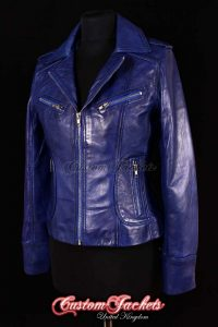 Ladies ESCAPE Blue Washed Lambskin Leather Motorcycle Fitted Biker Style Blouson Jacket