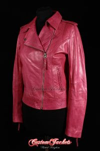Ladies BARCELONA Pink Washed Lambskin Short Womens Biker Style Real Leather Jacket