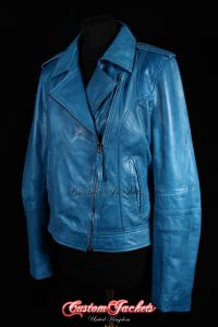 Ladies BARCELONA Blue Washed Lambskin Soft Retro Cool Short Biker Style Real Leather Jacket