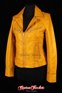 Ladies ESCAPE Yellow Washed Soft Lambskin Real Leather Motorcycle Biker Style Jacket