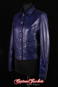 Ladies NEVADA Blue Washed Lambskin Leather Simple Casual Western Cowgirl Trucker Jacket