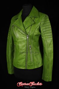 Ladies FURIOUS Lime Green Washed Lambskin Real Leather Short Fitted Motorcycle Womens Cool Biker Style Jacket
