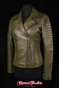 Ladies FURIOUS Green Washed Lambskin Real Leather Short Fitted Motorcycle Womens Cool Biker Style Jacket