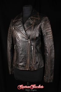 Ladies FURIOUS Black Antique Lambskin Real Leather Short Fitted Motorcycle Womens Cool Biker Style Jacket
