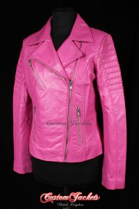 Ladies FURIOUS Pink Lambskin Real Leather Short Fitted Motorcycle Womens Cool Biker Style Jacket
