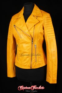 Ladies FURIOUS Yellow Washed Lambskin Real Leather Short Fitted Motorcycle Womens Cool Biker Style Jacket