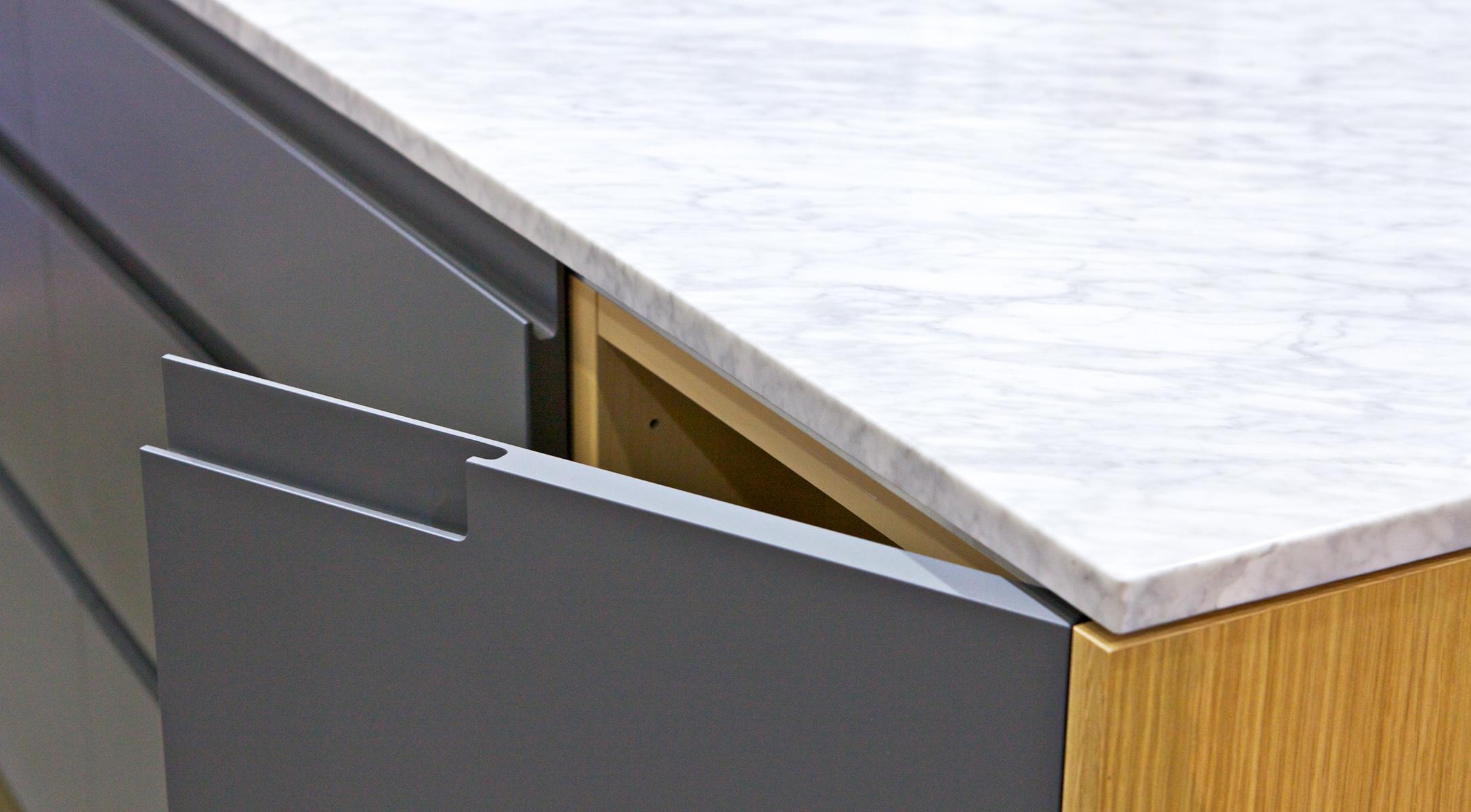 dcabinets custom kitchen cabinet doors custom ikea dark gray Dunsmuir Cabinets dCabinets painted integrated pull oak carrara marble