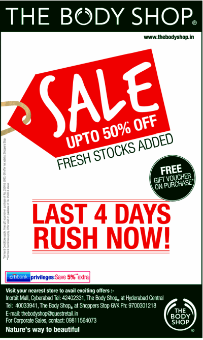 Sale upto 50% Off on Selected Items At The Body Shop ...
