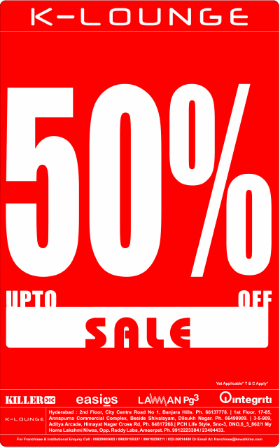 K-LOUNGE presenting upto 50% off Sale at Hyderabad | DealsHut