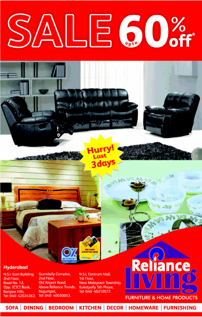 Reliance Living presents DISCOUNT SALE upto 60% off on ...