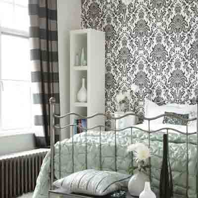 Bedroom Wallpaper in Black, White and Gray, One Wall Decoration