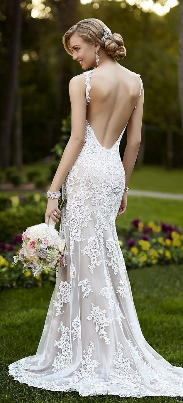52 perfect low back wedding dresses backless wedding dresses Open Back Mermaid Lace Wedding Dress