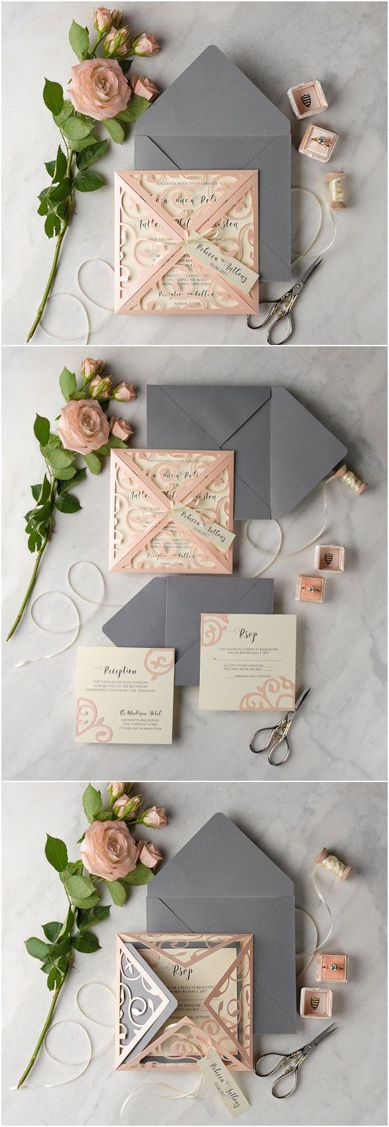 rustic wedding invitations photo wedding invitations Peach Grey Lace Laser Cut Wedding Invitation Set