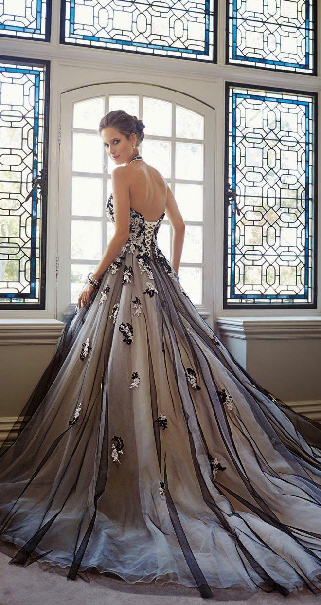 25 gorgeous black wedding dresses black wedding dresses Dresses from Sophia Tolli Sophia Tolli Fall Black and White Wedding Dress