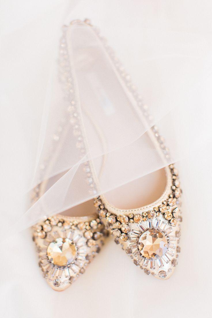 25 comfortable wedding flats for brides wedding flats Bejeweled wedding flats