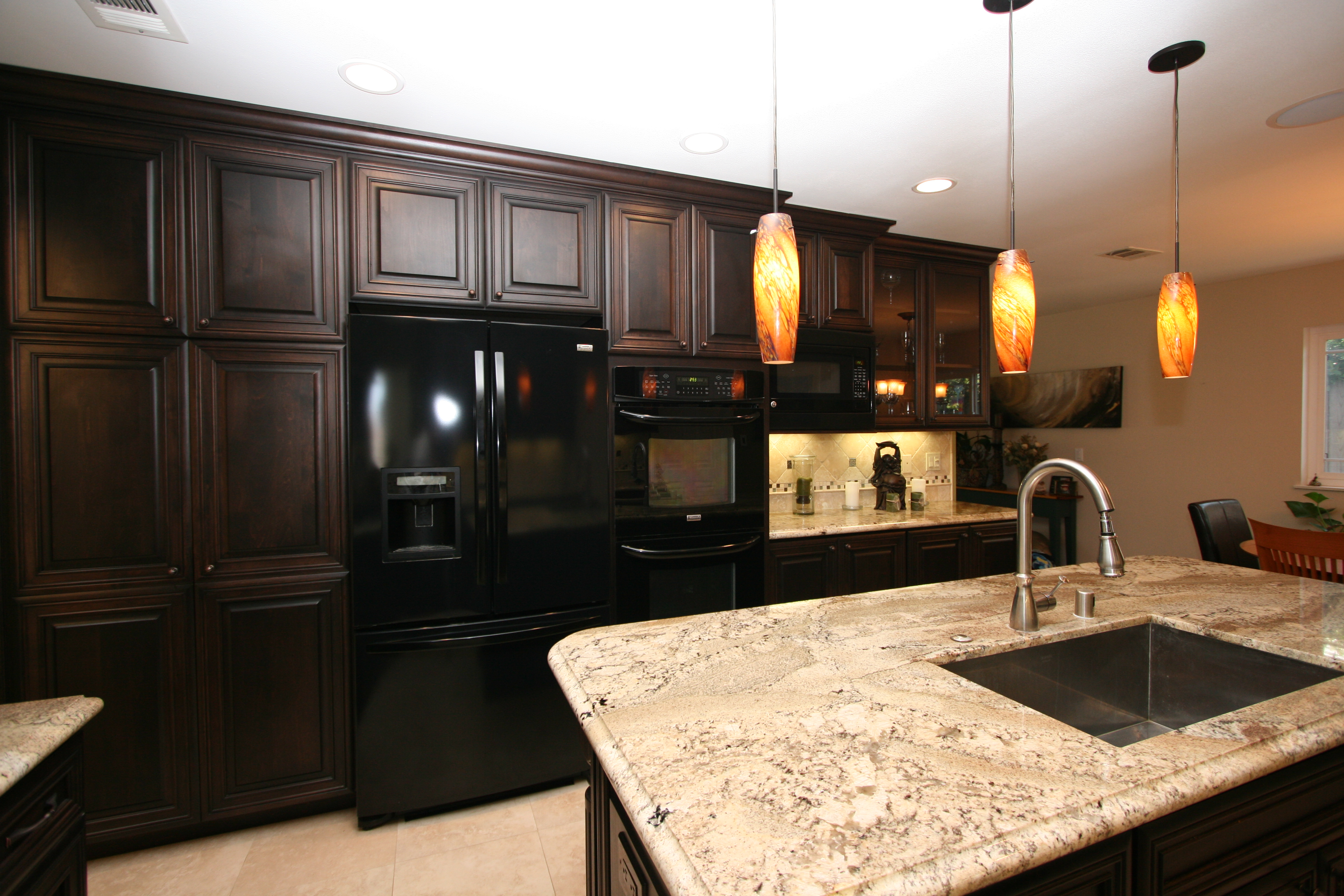 duffy home a traditional cherry kitchen for a modern family cherry kitchen cabinets Pendant lighting