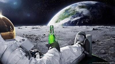 Astronaut Drinking Carlsberg Beer Moon Space Wallpapers ... Desktop Background