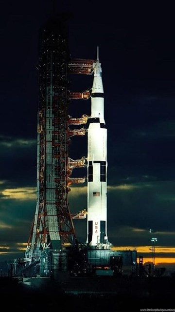 Download Wallpapers The Apollo 17 Saturn V After Sunset Two Weeks ... Desktop Background