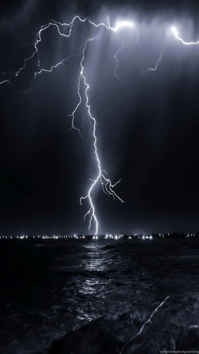 HD wallpapers for iPhone Lightning 1080x1920 nature landscape lightning above sea.jpg Desktop ...
