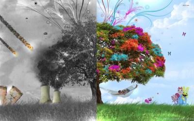Good Vs. Evil, Tree, Nuclear, Grass, People, Digital art ... Desktop Background