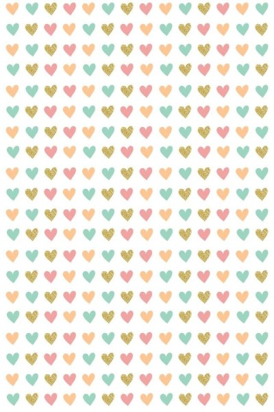 Ditsy Hearts Pink Gold Teal Coral Iphone Wallpapers Phone ... Desktop Background