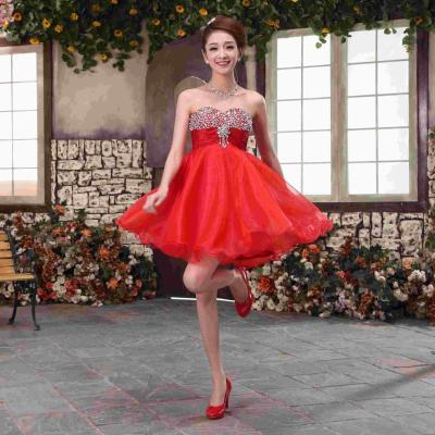 Special Red Bridal Dress Korean Bra Waist Short Paragraph ...