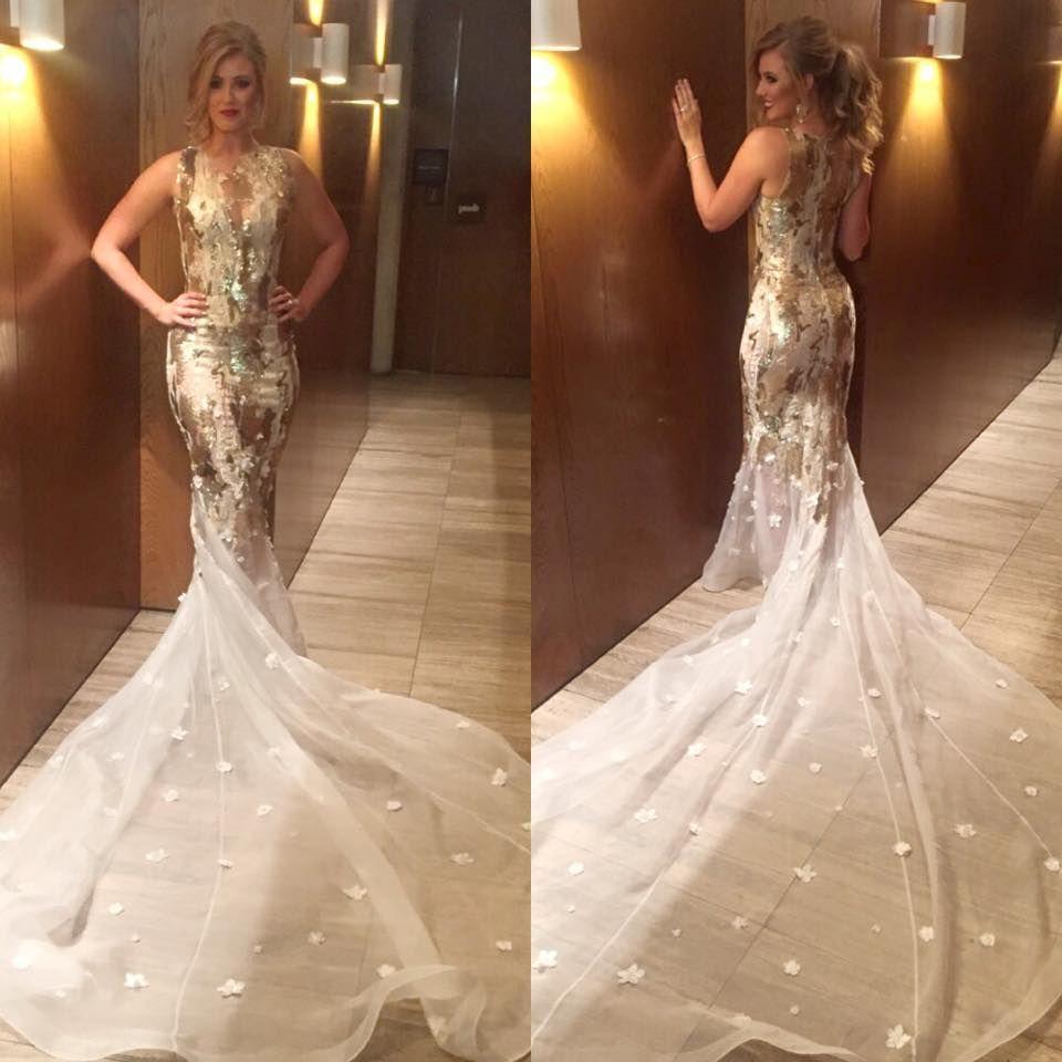white and gold mermaid wedding dress gold wedding dress White and gold mermaid wedding dress
