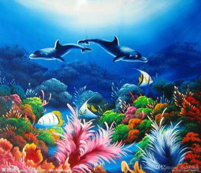 2019 Framed The Undersea World, High Quality Seascape Art Oil Painting Home Wall Decor HD Print ...
