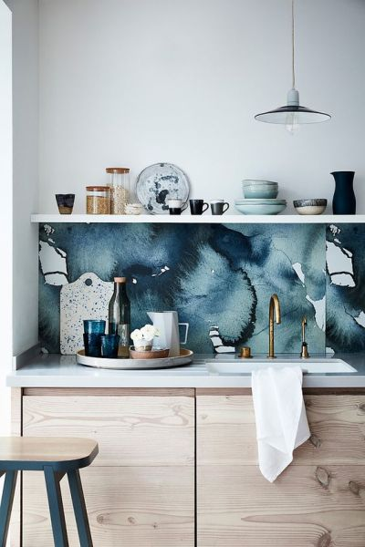 25 Wallpaper Kitchen Backsplashes With Pros And Cons - DigsDigs