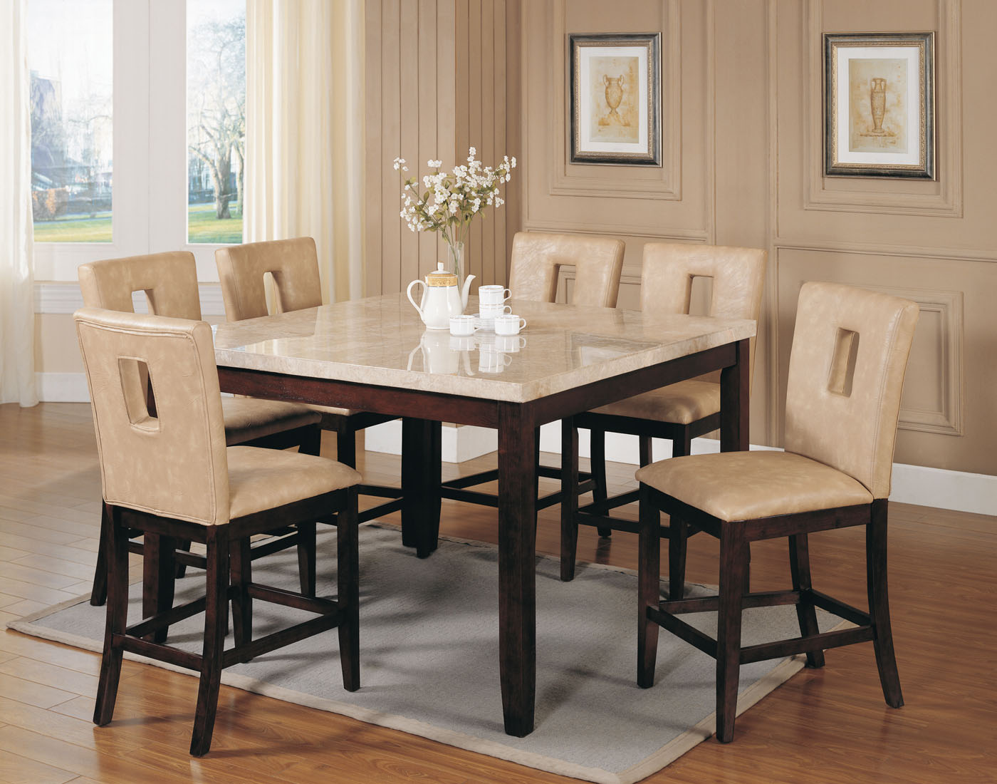 acme britney 7 pc square marble top counter height table set with cut out back counter height chairs marble top kitchen table Acme Britney 7 pc Square Marble Top Counter Height Table Set with Cut out Back Counter Height Chairs by Dining Rooms Outlet