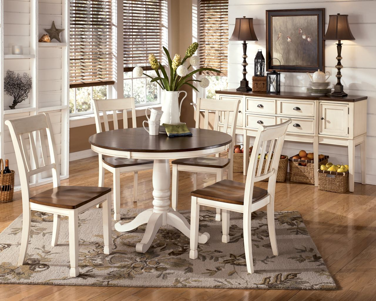 whitesburg 5 piece round dining table set in brown white kitchen table and chairs Whitesburg 5 Piece Round Dining Table Set in Brown White