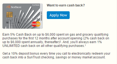 SunTrust Cash Rewards Credit Card Review - 5% Cash Back On Gas & Groceries 1st Year + 10% Bonus ...