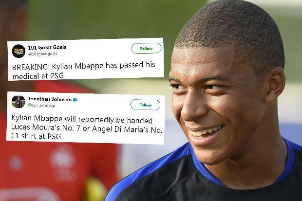 Kylian Mbappe 'passes PSG medical' as Monaco star prepares to be handed the No.7 shirt at the ...