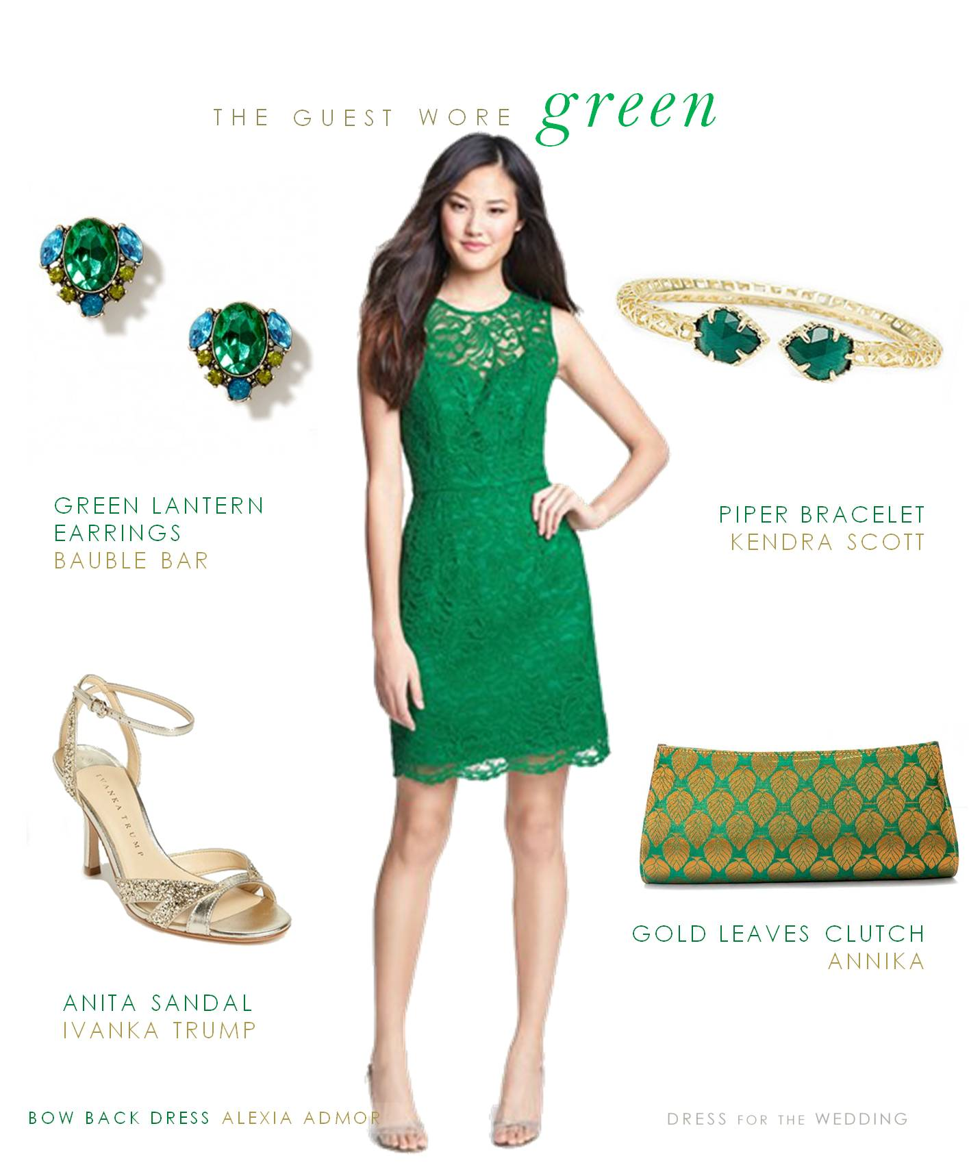 dress for a wedding Green Bow Back Dress for a Wedding