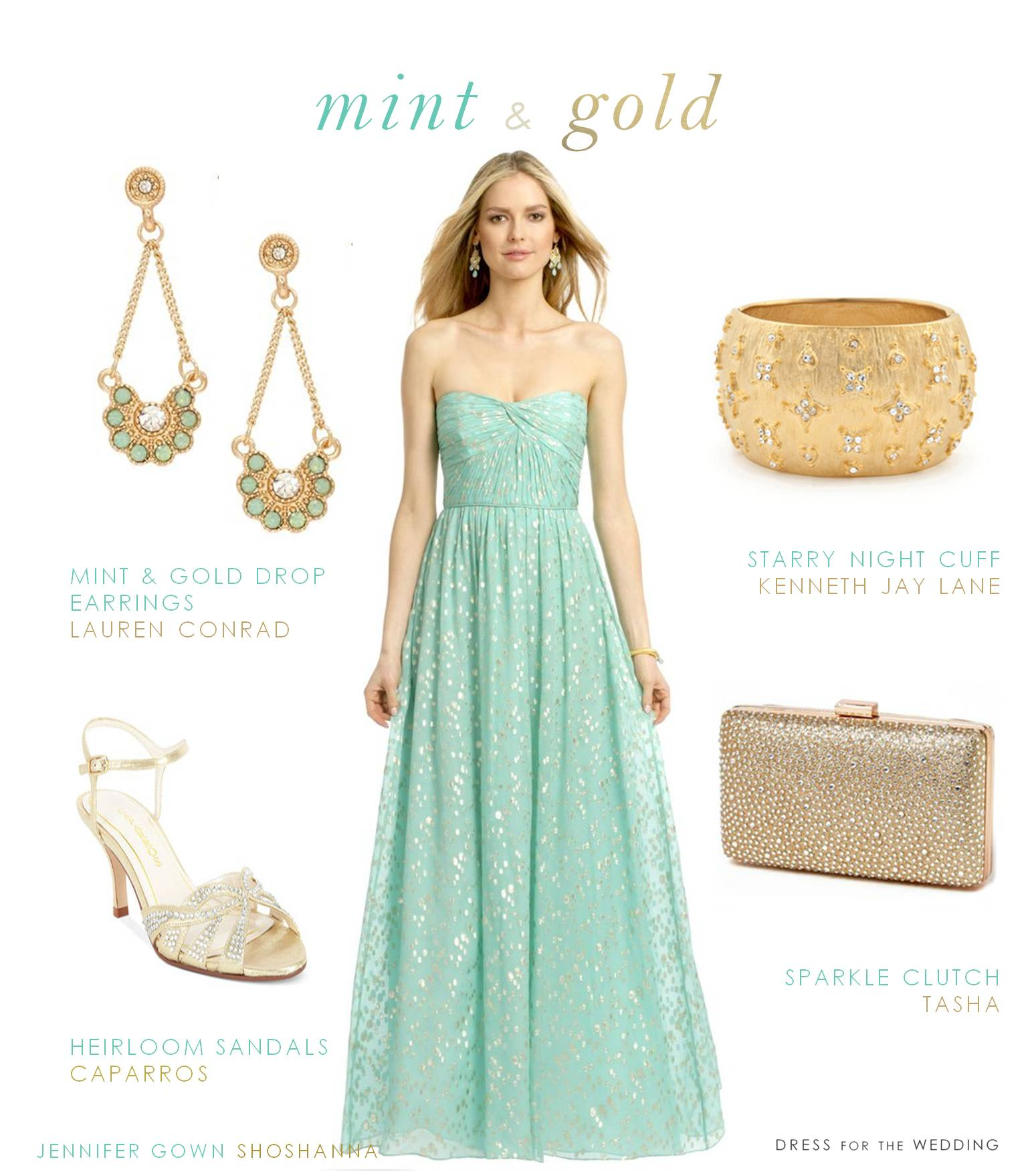 mint and gold dress dress for a wedding