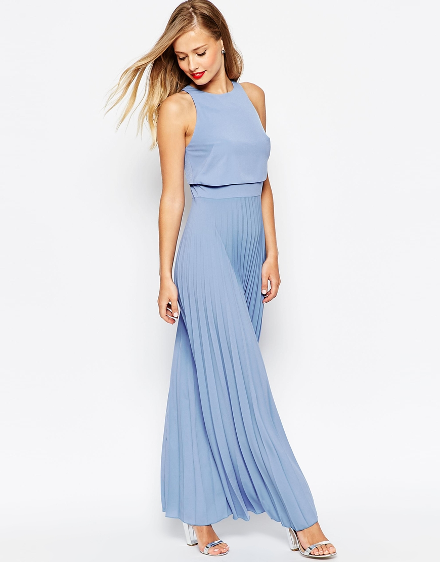 summer wedding guest dresses dresses wedding guest Powder blue maxi dress with pleats