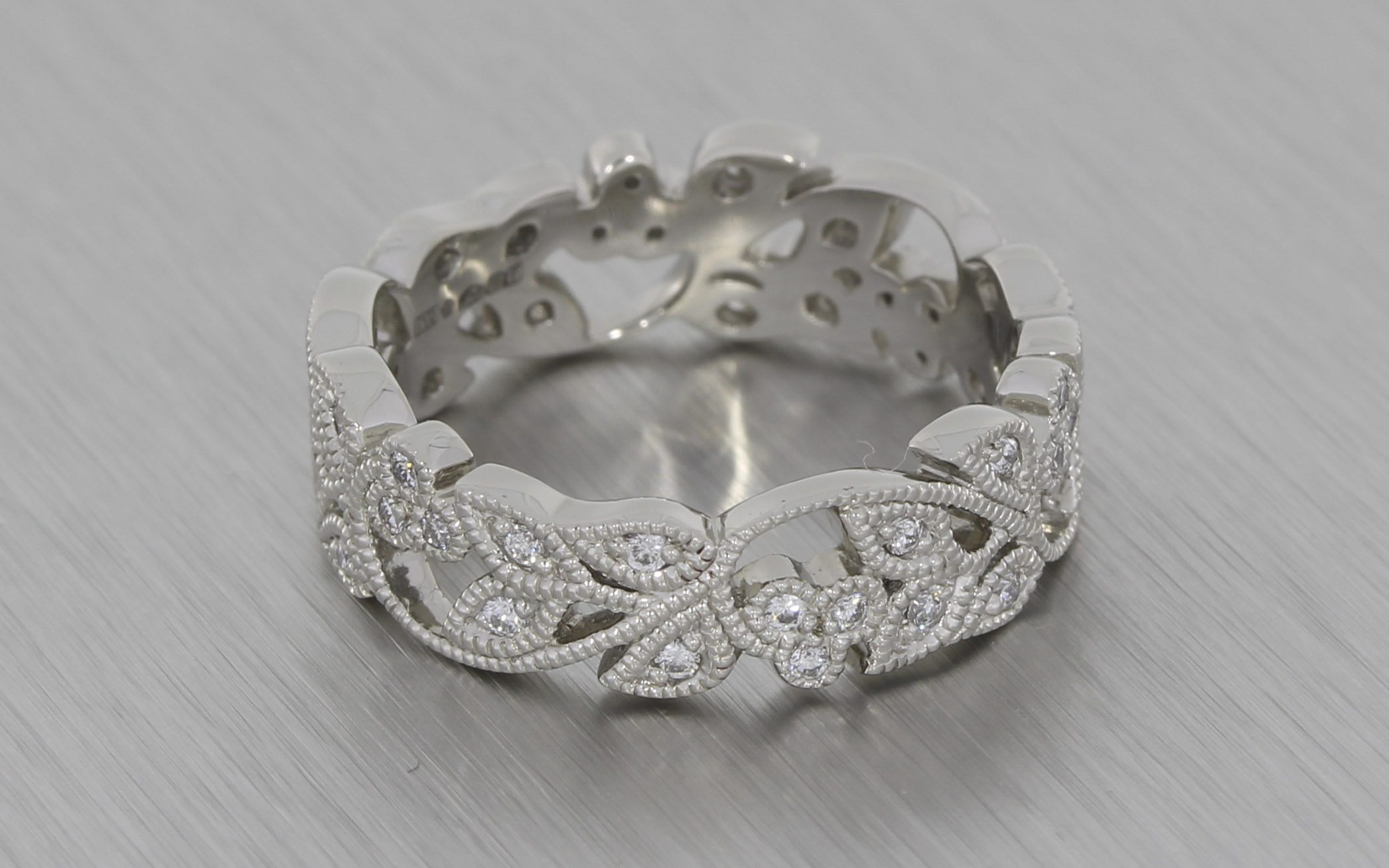 stunning vintage floral style platinum wedding band milgrain platinum wedding band Stunning Vintage Floral Style Platinum Wedding Band with Milgrain Portfolio Durham Rose