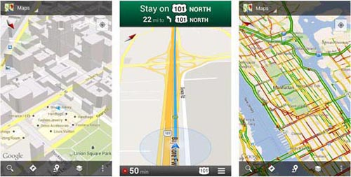 earth scout Screenshots of different functions in Google Maps App