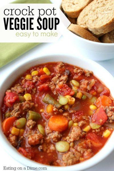 Crock pot Vegetable Soup Recipe - Eating on a Dime