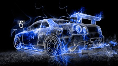 Nissan Skyline GTR R34 Fire Abstract Car 2013 | el Tony