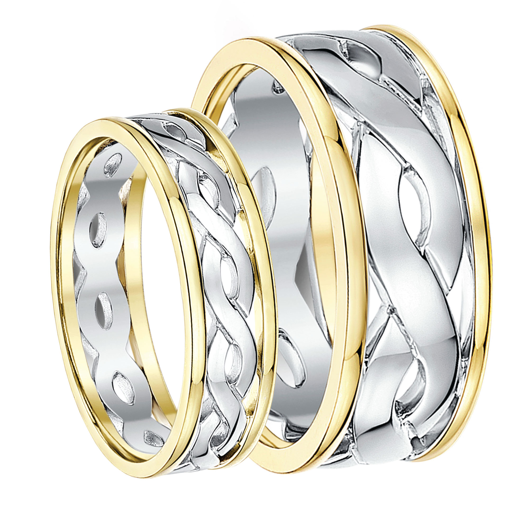 celtic rings c celtic wedding rings His Hers 5 7mm 9ct Gold Two Colour Celtic Wedding Rings