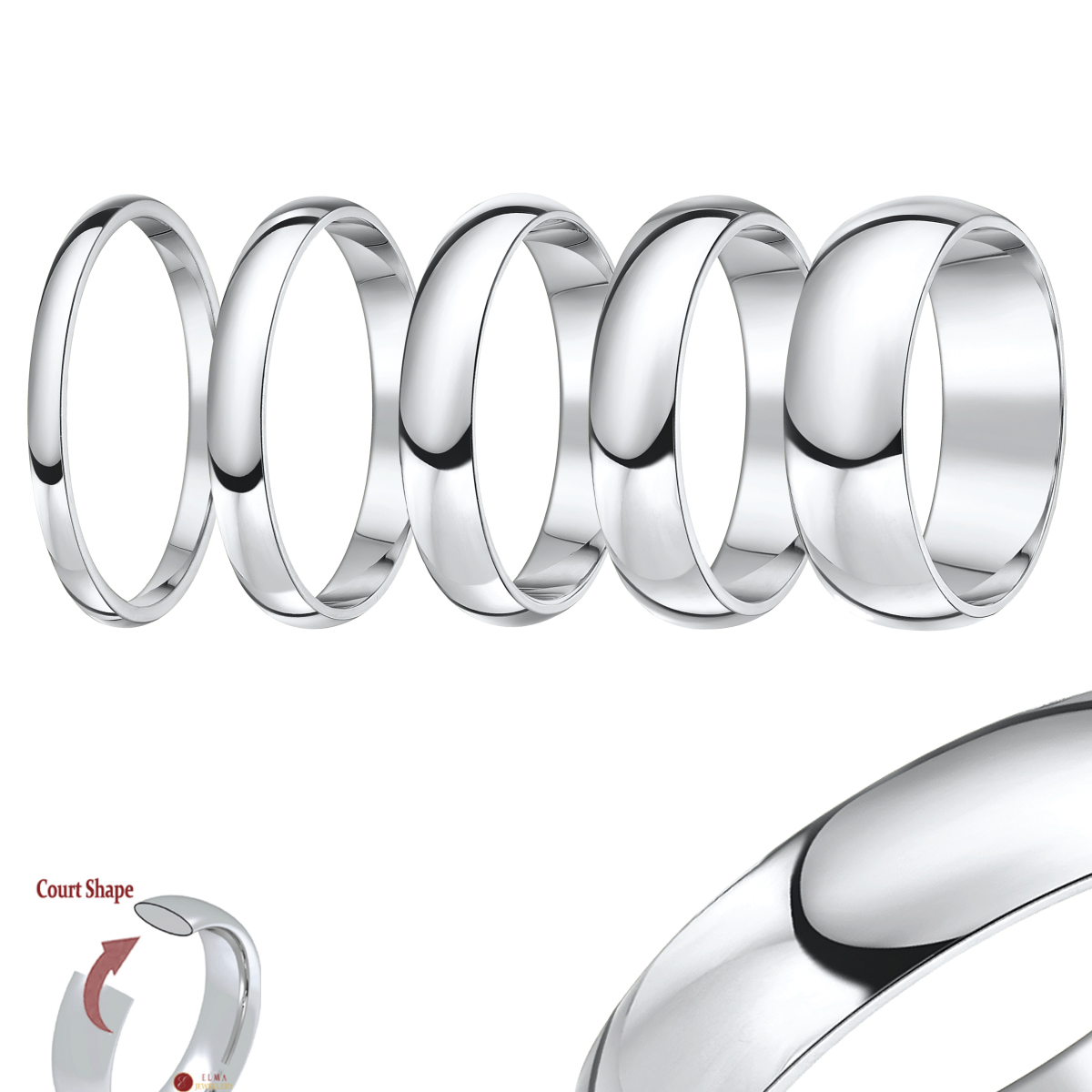 cobalt rings c cobalt wedding rings Cobalt Wedding Rings Traditional Court comfort fit Shape
