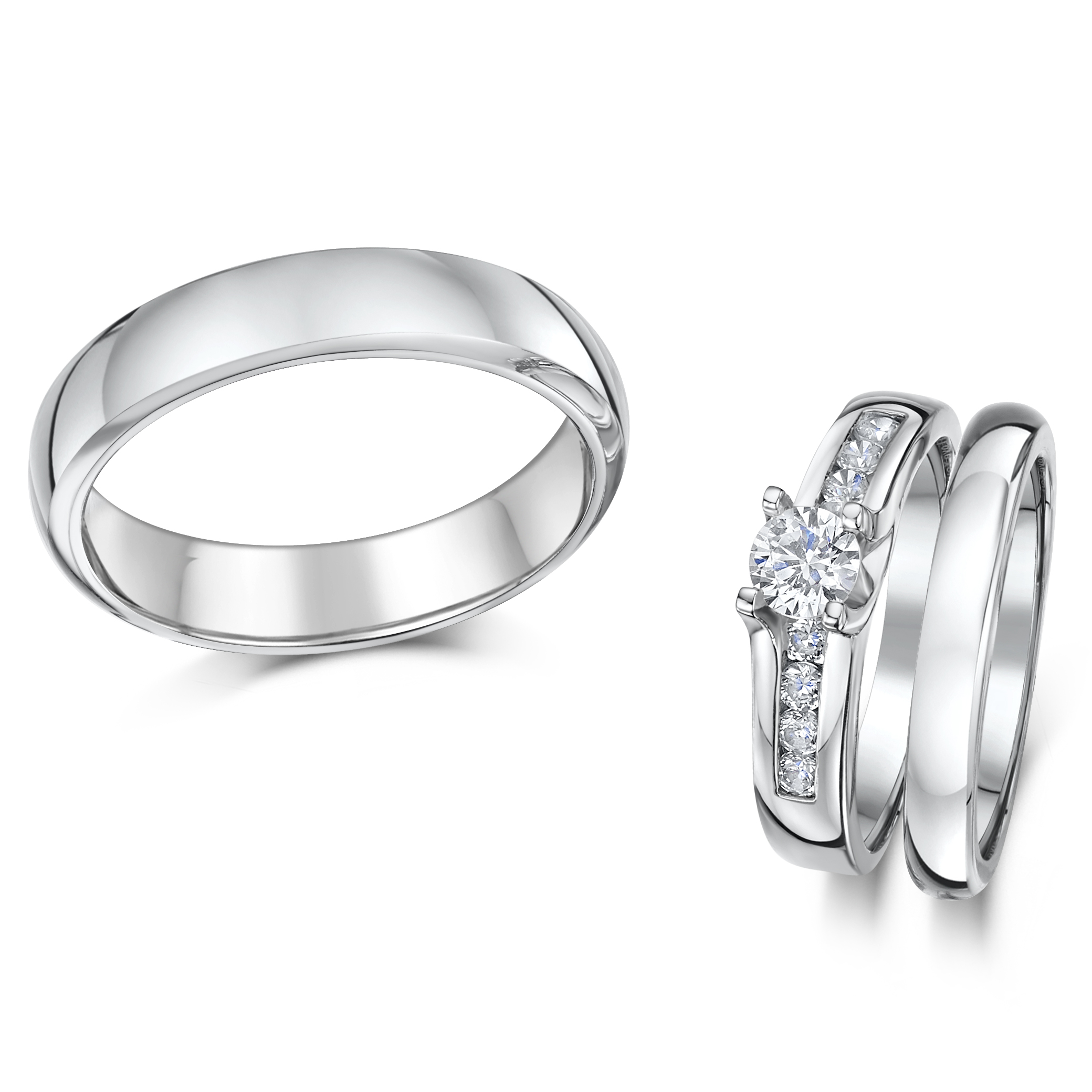 cobalt sets c cobalt wedding rings Cobalt solitaire Engagement His Hers 3 5mm Wedding Rings