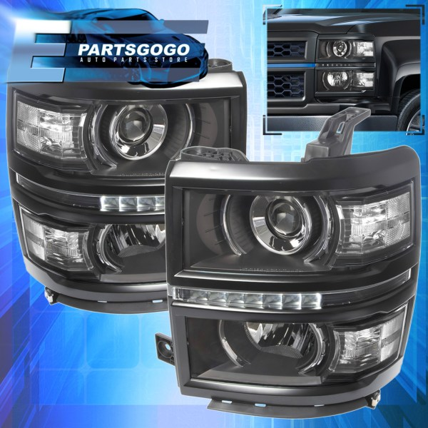 2014 2015 Chevy Silverado 1500 Black Housing Clear Projector Led DRL     2014 2015 Chevy Silverado 1500 Black Housing Clear Projector Led DRL  Headlights   eBay