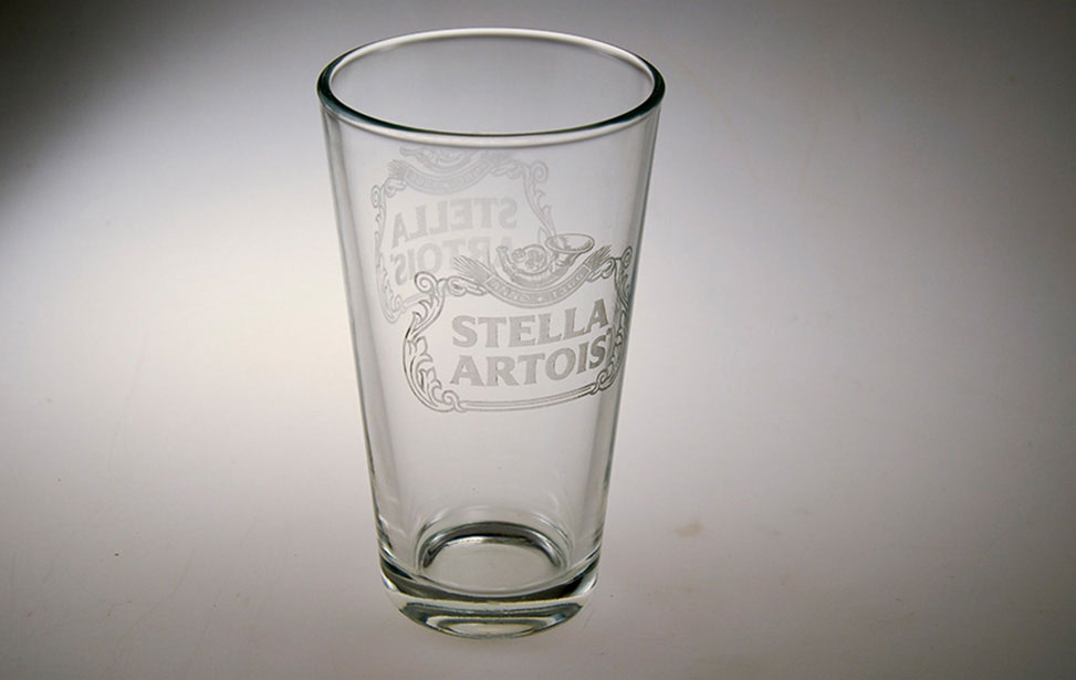 Glass Laser Engraving Applications Gallery for Laser Engravers and     Stella Glass Engraved with Laser Stella Artois Glass