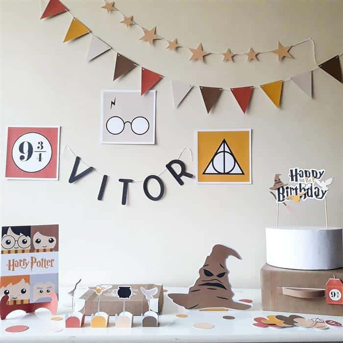 festa infantil harry potter simples