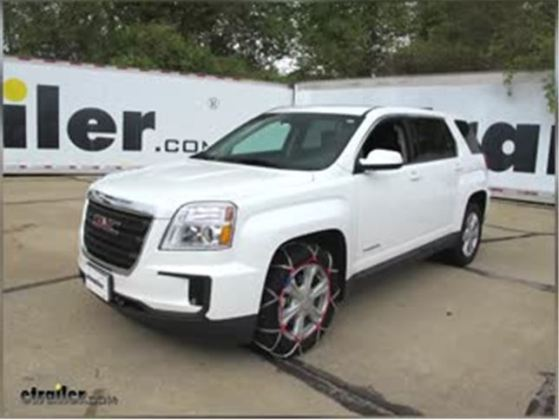GMC Terrain Tire Chains   etrailer com Speaker 1  Today on your 2017 GMC Terrain  we re going to be doing a test  fit on the Pewag Snox Pro Snow Tire Chains with a diamond pattern and  square links