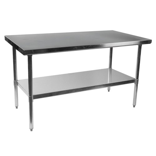 stelios steel prep table 60 kitchen prep table Stelios 60 Steel Modern Counter Height Kitchen Prep Table