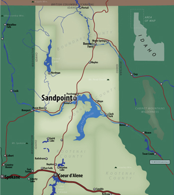 Eric Olason    Cartographic Artist    Sandpoint  Idaho Locater Map This map was published as a supplemental inset locater map for the   Sandpoint  Idaho Discovery Map  2005 edition  I also colored the  illustrated map